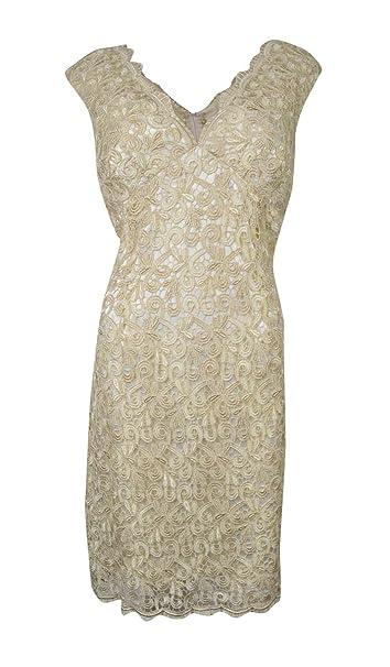 Marina Womens V Neck Iridescent Lace Sheath Dress