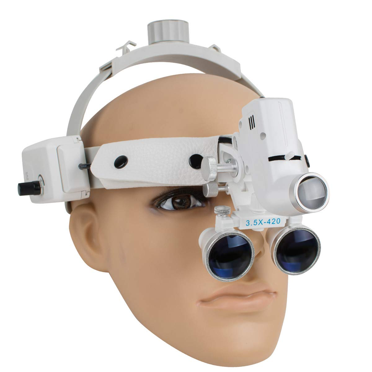Dental Binocular Loupes Glasses Head Band Magnifier with LED Light 3.5X-420 Optical