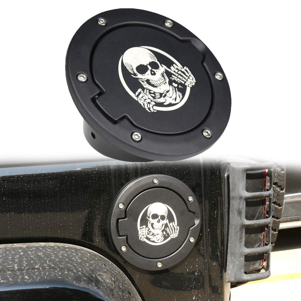 Athiry 1 PC Black Gas tank/Fuel Filler/Fuel Tanks Cover/Fuel Door with logo protect sand for Jeep Wrangler JK/JKU 2D/4D 2007-2017