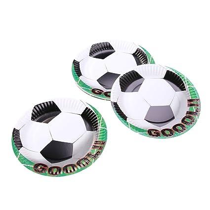 BESTOYARD 20 Piezas de Fiesta Platos Desechables Patrón de fútbol Cumpleaños Bandeja de Papel Pastel Decoración para la Fiesta Infantil (18 cm)