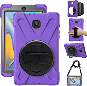 Gzerma Case for Samsung Galaxy Tab A 8.0 SM-T387 2018 Childproof with Stand Strap and Shoulder Holder Rugged Hard PC + Silicone Cover Case for Samsung Tab A 8.0 T387V Verizon 8 inch Tablet, Purple