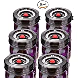 : 6-Pack Easy Fermentation Lid Kit, Make Pickle&Sauerkraut, galahome Waterless Airlock Fermenting Kit for Wide Mouth Mason Jars Not Crock Pots, Bonus Pump, No Mold, Black ( 2 Colors Available )