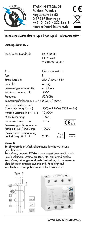 63A 4-Polig 0,03A 30mA E-Mobility Allstromsensitiv FI//RCD Typ B