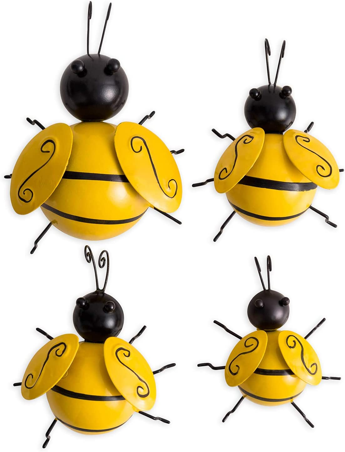 FJS Metal Bumble Bee Sculpture Set of 4 Cute Little Bugs Wall Art Decor, Hanging for Indoor and Outdoor, for Home or Garden Decoration