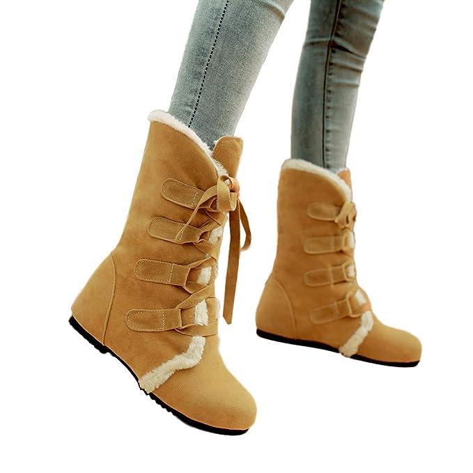 JiaMeng Botines Plataforma Bota Boots Ocasional Botas Calientes Botines Planos Botines de Nieve Cruzados Atado Botas Zapatos de Mujer rebajada Botas de ...
