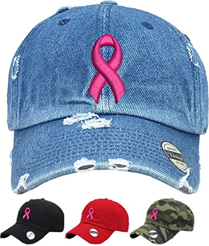 Allntrends Adult Dad Hat Pink Ribbon Breast Cancer Symbol Support Embroidery Hat (Camo)