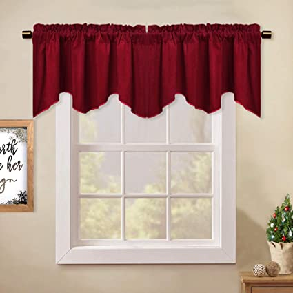 Stangh Kitchen Red Scalloped Velvet Curtain Valance 18 Inches Stylish Home Decor Thermal Curtain Tiers Room