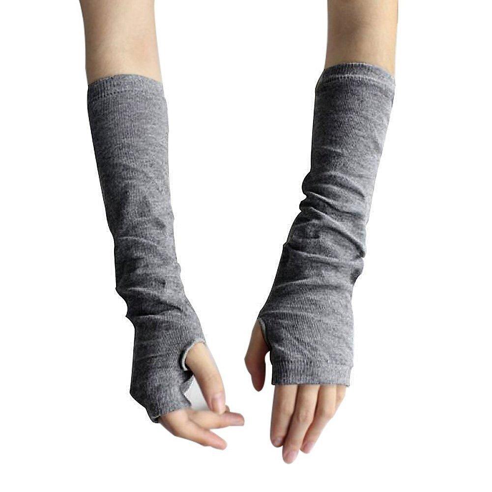Las mujeres de invierno Fashion brazo caliente sin dedos largo guantes mitad agujero Mitten gris Gri...