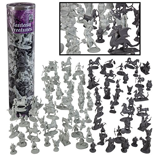 SCS Direct Fantasy Creatures Action Figure Playset - 90pc Monster Battle Toy Collection (Includes Dragons, Wizards, Orcs, and more) - Perfect for Roleplaying and D&D (Dragon Figure Box)