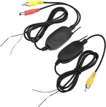 Transmisor de vídeo inalámbrico a color 2.4 G y receptor para cámara de respaldo del vehículo/cámara frontal del coche, sistema de monitor de cámara ...