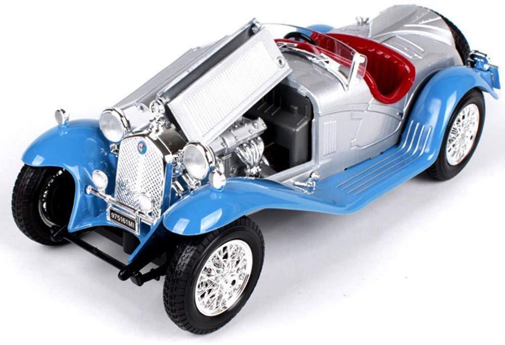 Scala 1:18 Blu Auto Statica Pressofusa Alfa Romeo 8C Ruote Anteriori E Posteriori con Funzione di Ammortizzatore Modello Classico di Auto in Lega di Simulazione 8C Modelli Finiti