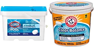 Clorox Pool&Spa XtraBlue 3-Inch Long Lasting Chlorinating Tablets, 5-Pound Chlorine & Arm & Hammer Clear Balance Pool Maintenance Tablets, 16 Count, Net Wt. 7LB (3.18kg)