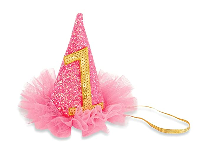 60b5e33594d Image Unavailable. Image not available for. Color  Mud Pie Baby Girls First  Birthday Glitter Party Hat ...