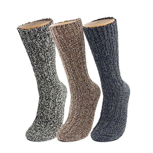 GLENMEARL 3 Pack Womens & Mens Merino Wool Hiking Socks Winter Warm Soft Snow Boot Crew Socks for Women & Mens(Size 11-14)