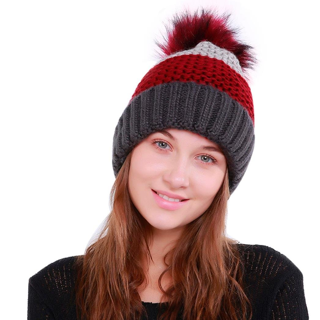 Brydon Women's Winter Warm Fur Knit Wool Beanie Pom Pom Baggy Crochet Ski Cap Hat Hairy Bulb TZ-4774