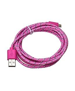 Culater® 3M/10FT Corde de Chanvre Micro USB Cord Chargeur Câble de Synchronisation de Données pour Téléphone Portable (Rose)