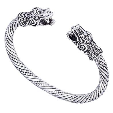 17308629b Myshape Bracelet jonc de style ancien dragon & viking en argent