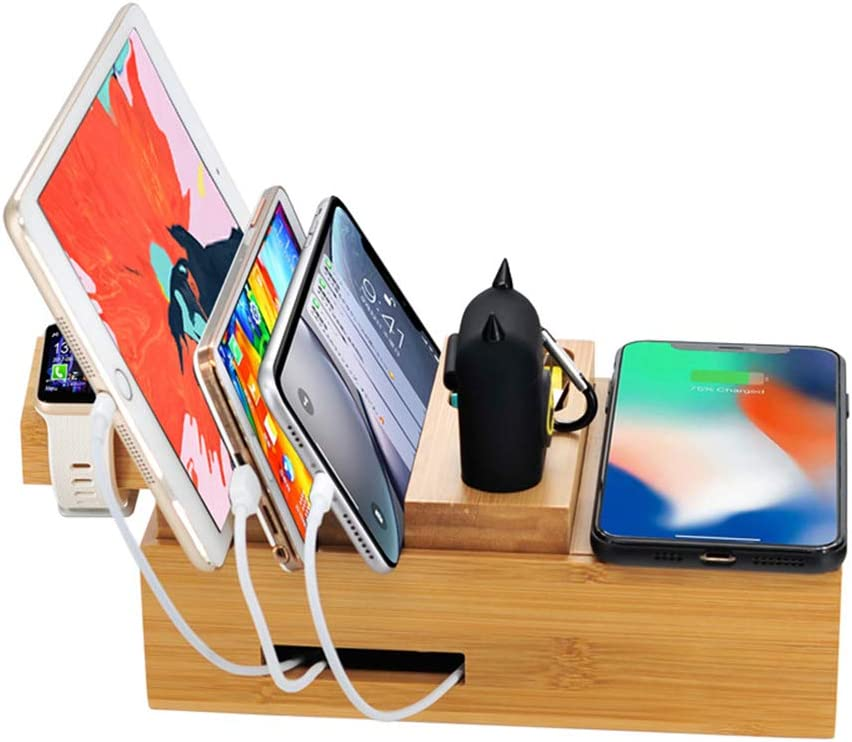 Tablets and Other USB-Charged Devices WPFC 5USB Multi-Function for iPhone XR X Wireless Charger Dock Station Universal Cell Phones