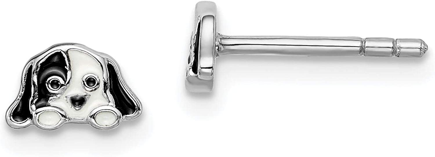 925 Sterling Silver Rhodium-plated Polished Enameled Puppy Stud Post Earrings