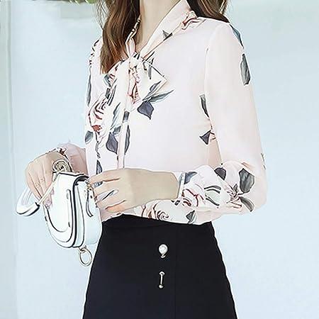 KCMCY Blusas Blusas Y Blusas De Mujer Gasa con Estampado Floral Camisas De Mujer Blusa con Arco Camisa De Vestir Blusas Femeninas, XXL: Amazon.es: Hogar