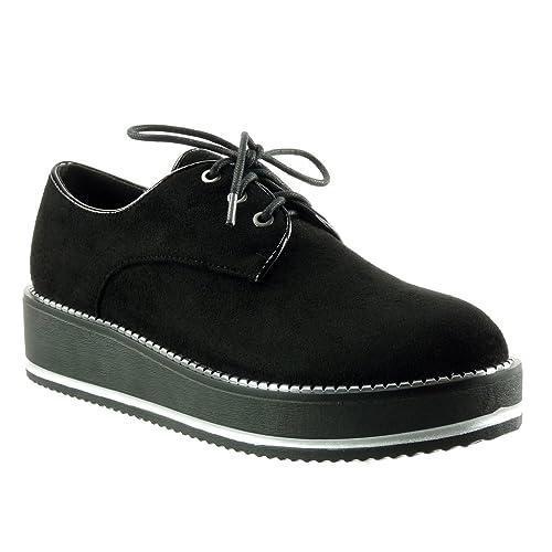 Angkorly Zapatillas de Moda zapato derby zapatillas de plataforma mujer cremallera Talón Plataforma 4.5 CM: Amazon.es: Zapatos y complementos