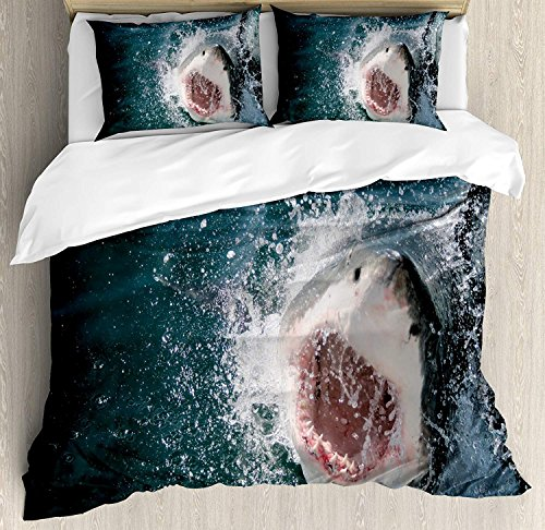 Attacking Set (Shark 4 Piece Bedding Set Full Size, Wild Animal in the Sea Attacking Showing the Mouth and Teeth Scary Print, Duvet Cover Set Quilt Bedspread for Childrens/Kids/Teens/Adults, Petrol Blue Grey White)
