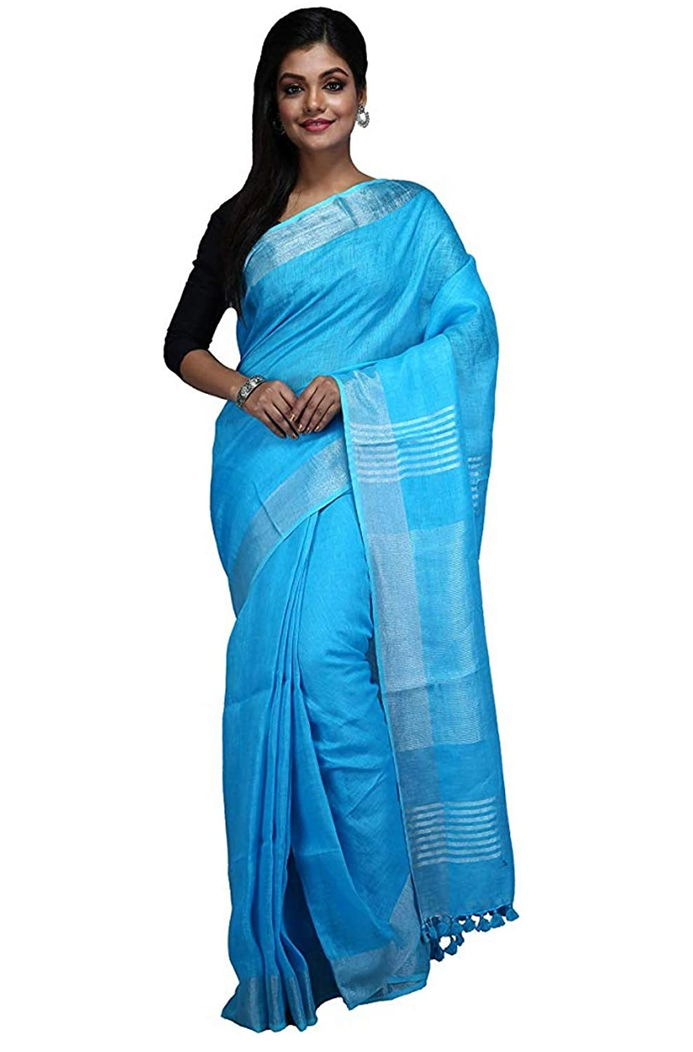 Buy HANDLOOM FABRIC WOMEN'S SKY BLUE COLOUR LINEN SAREE WITH