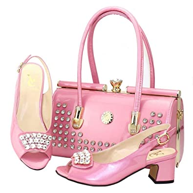 2492458ea375f Amazon.com: Wine Red Color Italian Ladies with Matching Bag High ...
