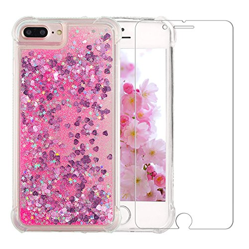 iPhone 7 Plus/8 Plus Glitter Case, NOKEA Luxury Fashion Flowing Liquid Floating Sparkle Glitter Girly TPU Case with Glass Screen Protector for iPhone 6 Plus/6S Plus/7 Plus/8 Plus (5.5