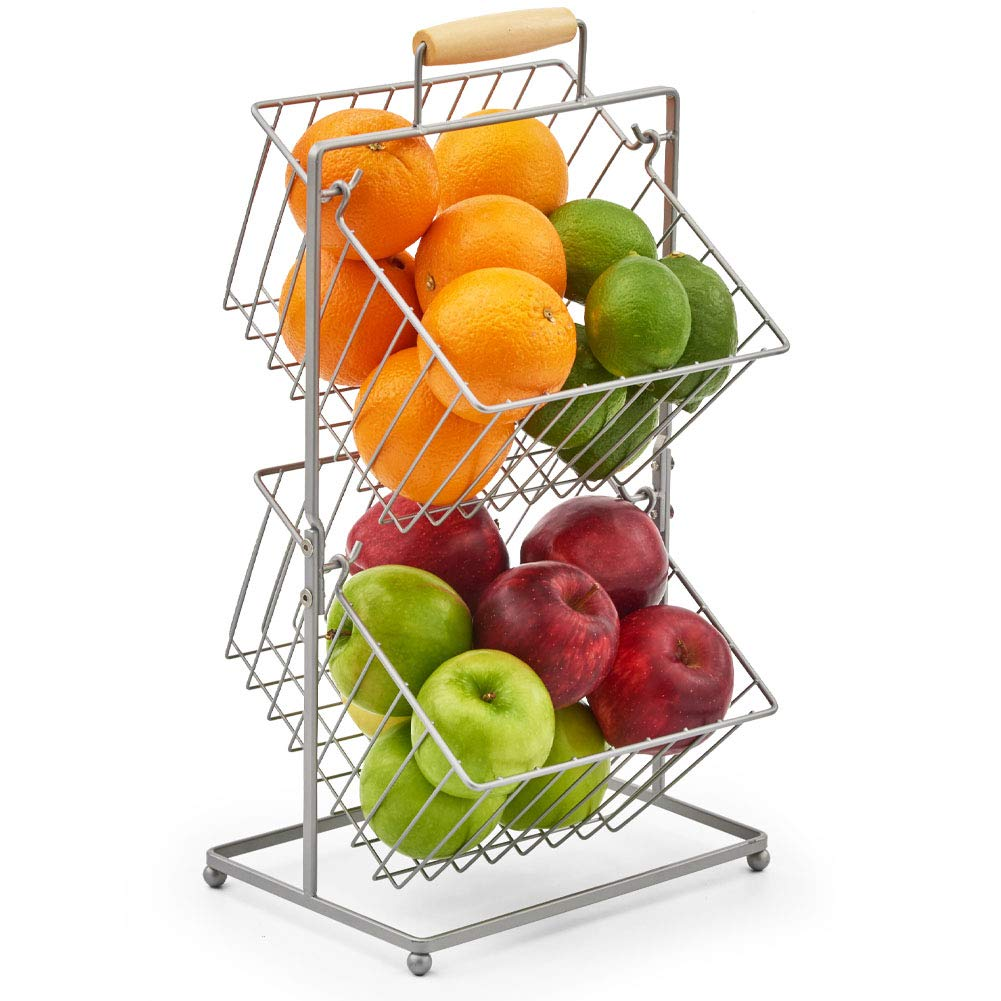 EZOWare 2-Tier Fruit Basket, Kitchen Market Produce Mini Countertop Display Holder Stand - Storage Organizer for Fruits Veggies Snacks Household Items - Silver Metal
