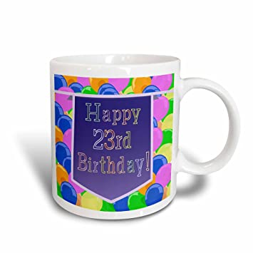 3dRose 174868 3 Balloons With Purple Banner Happy 23Rd Birthday Magic Transforming Mug 11 Oz