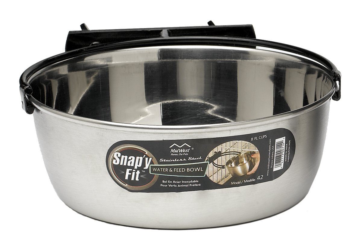 MidWest Homes for Pets Snap'y Fit Stainless Steel Food Bowl / Pet Bowl, 2 qt. for Dogs & Cats by MidWest Homes for Pets