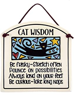product image for Modern Artisans Cat Wisdom Ceramic Quote Plaque, 6-Inches, American Made