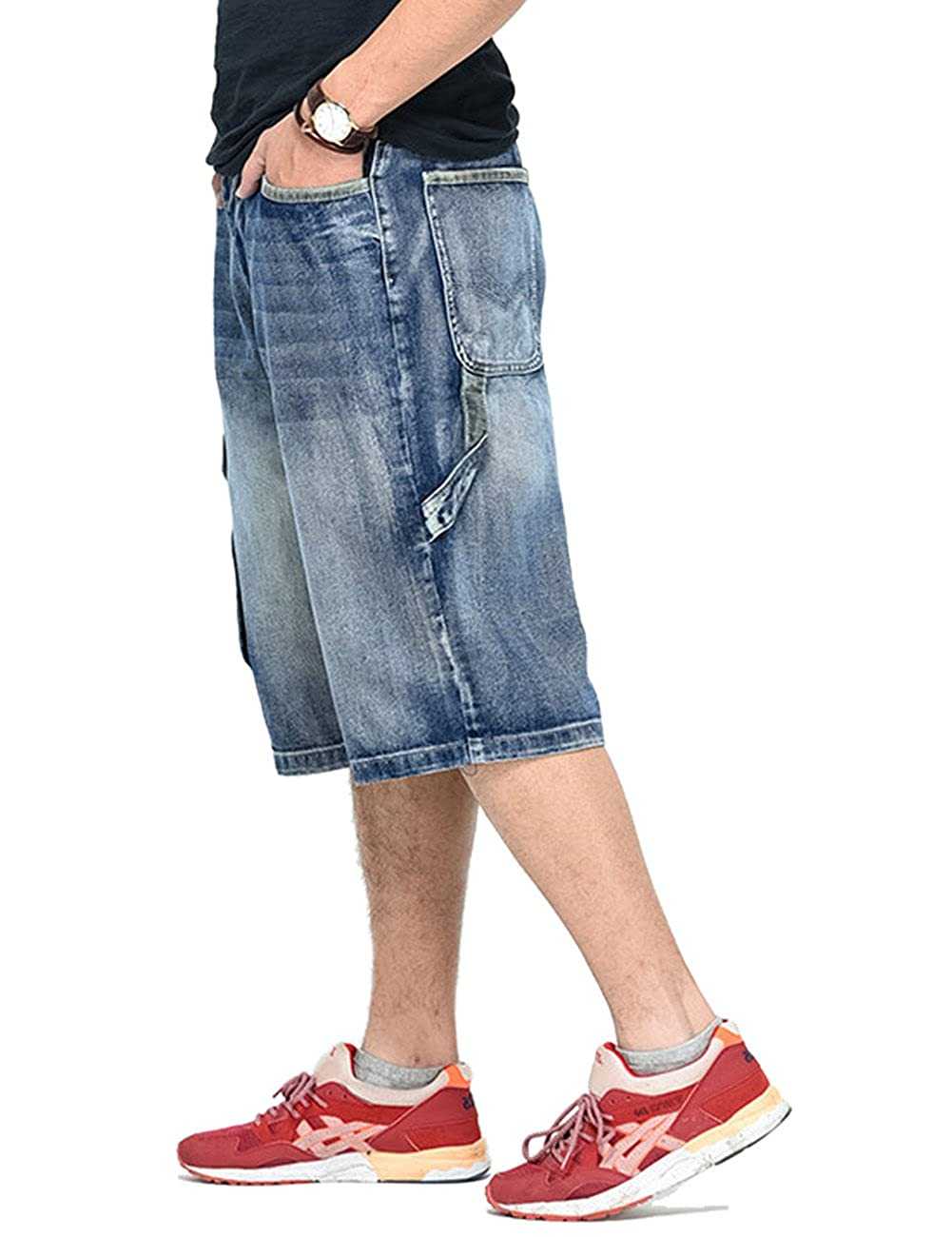 PLAYBIGG Men's Relaxed-fit Straight Denim Cargo Jeans Shorts