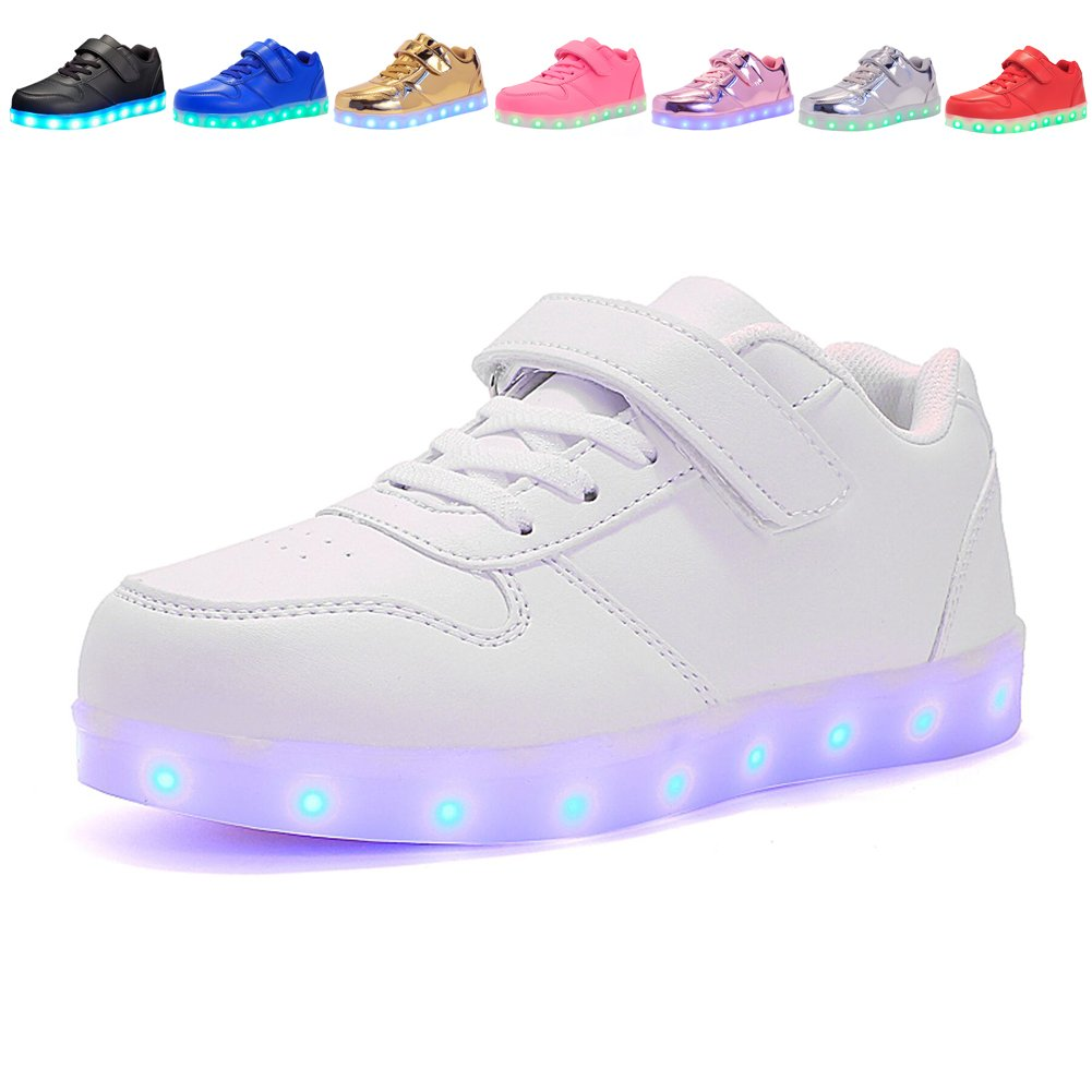 Voovix Kids LED Light up Shoes Flashing Low-Top Sneakers for Boys and Girls Child Unisex(White,US13/EU31)