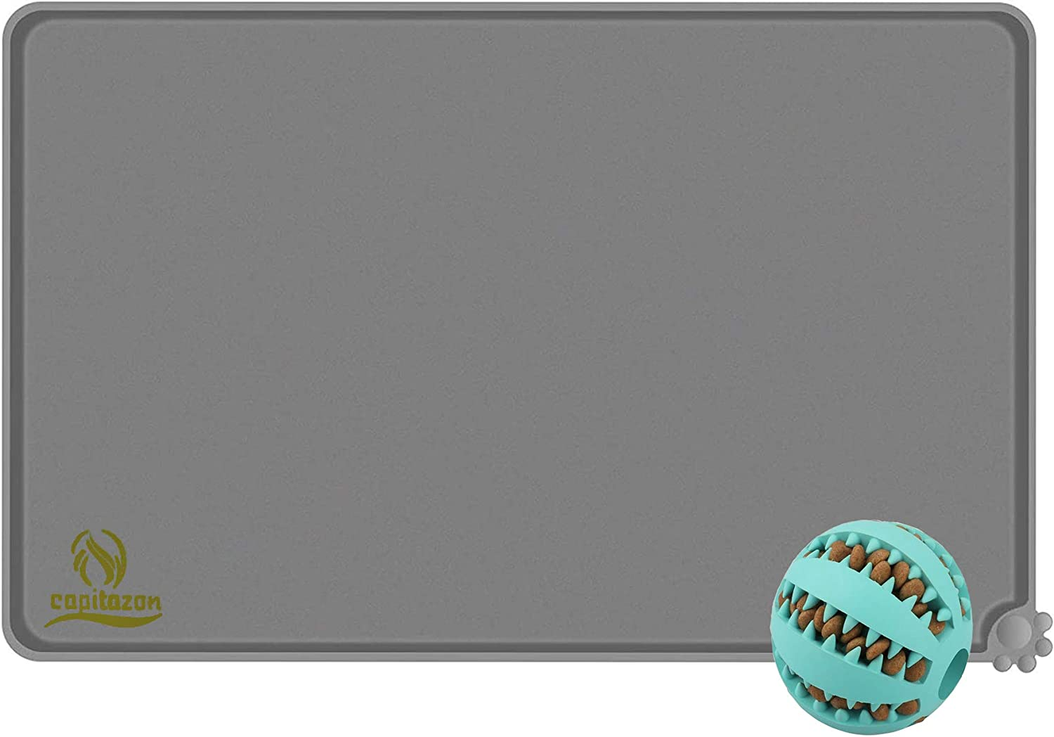 Capitazon Cat Dog Bowl Mat (18x12) Pet Feeding Mat with Chewing Ball | Waterproof Silicone Pet Placement Mat Tray with Raised Edges Nonslip & Easy to Wash | Dog Teething Toy for Chewing & Treat Ball