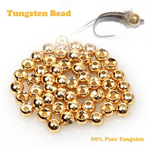 ANGLER DREAM Fly Tying Beads 100 PC/LOT Tungsten Beads Nymph Head Ball Fly Tying Materials Gold 3.15 mm