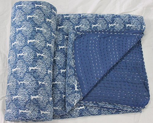 Craftofpinkcity Indigo Blue Kantha Quilt With cotton Sheet Q