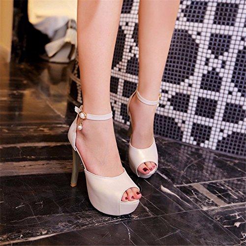 boca Mujeres impermeable Plataforma de pescado de tacón diamantes zapatos tacón sandalias sandalias los de verano de Beige los alto grueso nBw0dwqUr