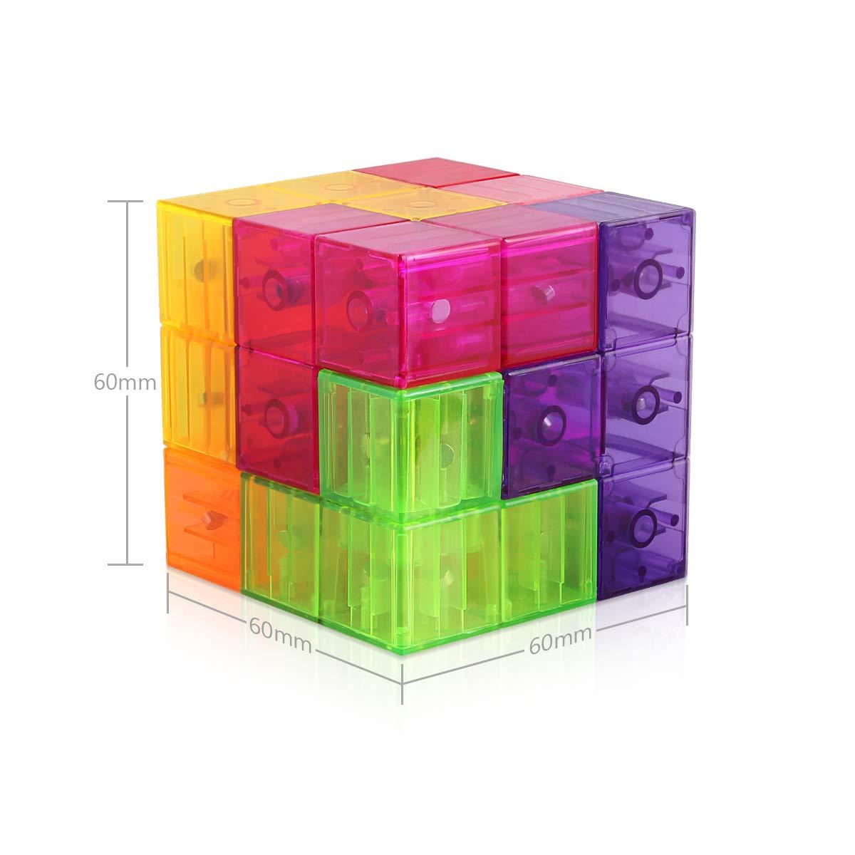 D-FantiX Magnetic Building Blocks Tetris Puzzle Cube 7pcs/Set Square 3D Brain Teaser Puzzle Magnetic Tiles Stress Relief Toy Games for Kids ( Cube Size 2.36in) by D-FantiX (Image #8)