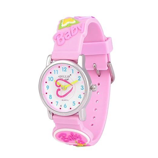 Reloj para niños Niños Niñas Niño Relojes Impermeable Niños Tiempo Maestro Mi primer lector fácil 3D Regalo de aprendizaje lindo cuarzo de silicona para ...