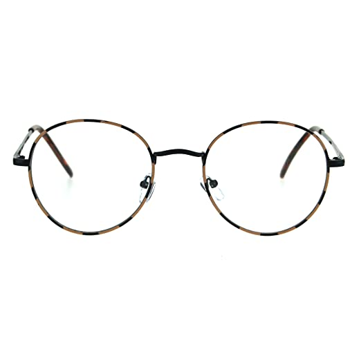 903eea2afa8a Amazon.com: Classic 90s Metal Rim Round Clear Lens Eye Glasses Frame Black  Tortoise: Clothing