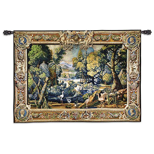 15Th Century Landscape - Scenic Nature Scene with A Wooded Stream Teeming with Animals and Foliage - Woven Tapestry Wall Art Hanging for Home Living Room & Office Decor - ()