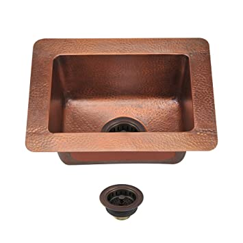 905 Small Single Bowl Copper Sink, Strainer