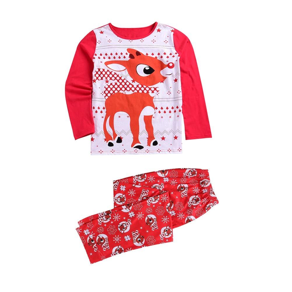 119ff888bddfe Miyanuby Ensembles de Pyjama Noel Famille Père Mère Garçon Fille Bébé  Pyjamas à Deux Pièces Set ...
