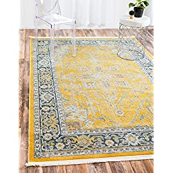 Unique Loom Baracoa Collection Bright Tones Vintage Traditional Yellow Area Rug (2' x 3')