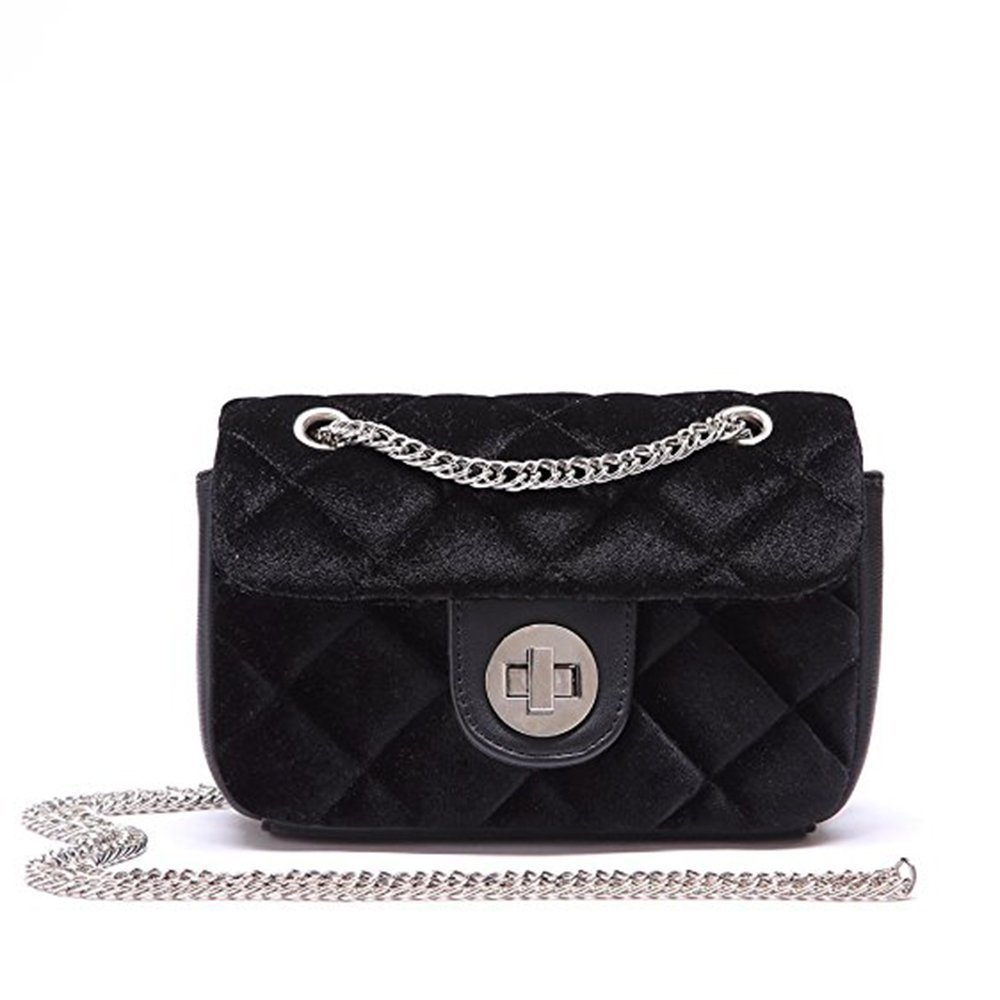 Women's Quilted Purse Quilted Bag Crossbody Bags For Girls Quilting Chain Handbag (Black)