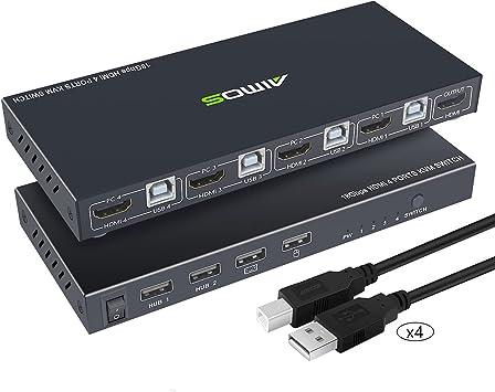 AIMOS KVM HDMI Switch, Conmutador USB 4 Puertos Ordenador KVM Interruptor Teclado Ratón Switcher Box Soporte 4K @ 30Hz 3D para portátil, PC, HDTV