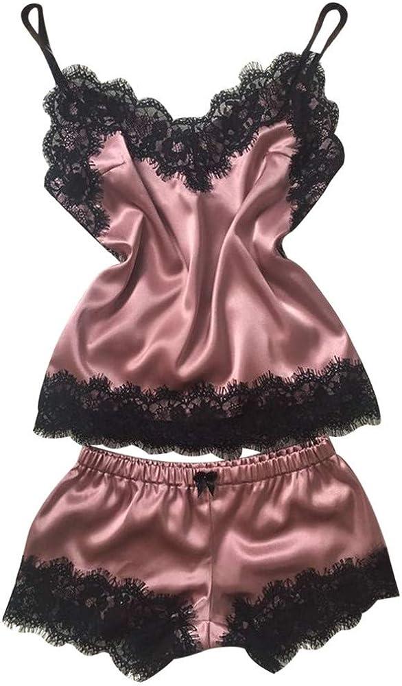 MIRRAY Womens Pajamas Set Braces Sleepwear Ladies Plus Size Nightwear Eyelash Lace Lingerie Bodydoll V-Neck Solid Woman Sleep Tops Pants Romantic Wear