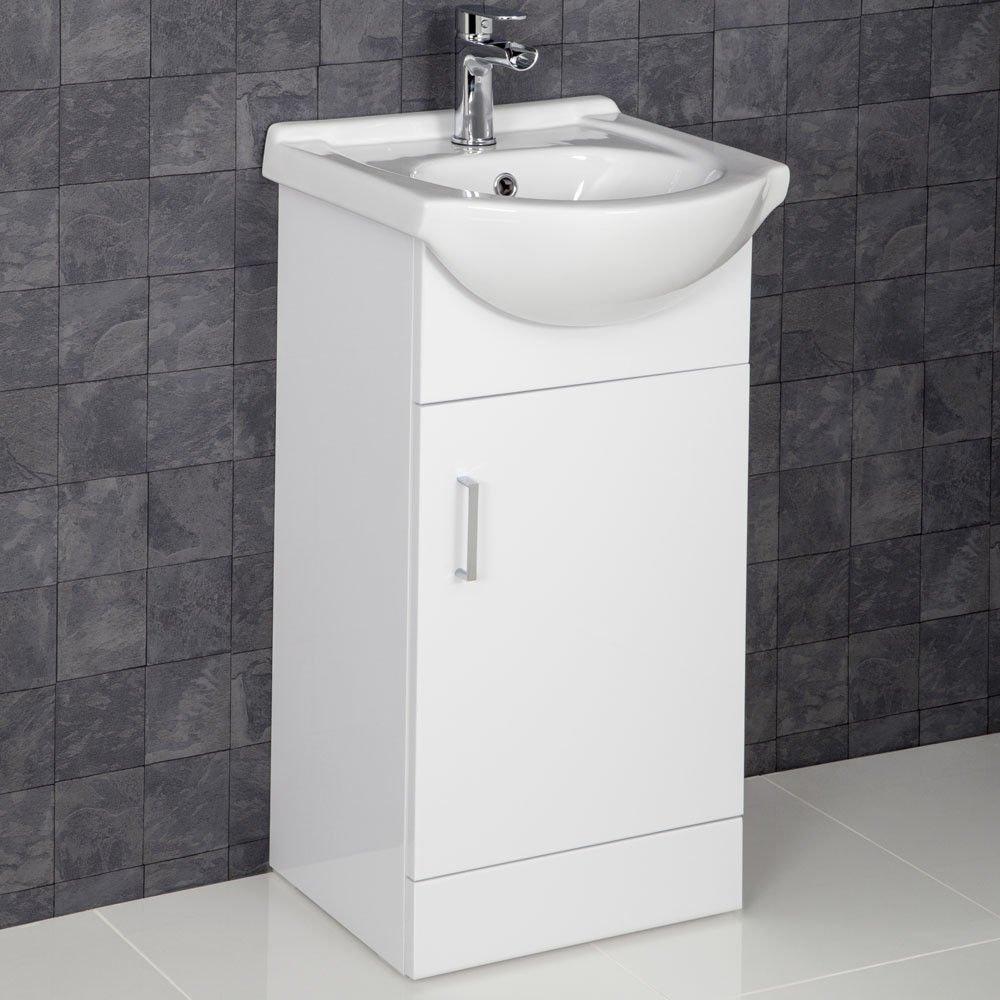 Affine Bathroom Suite Cloakroom Vanity Unit Close Coupled Toilet Basin Tap & Waste Set